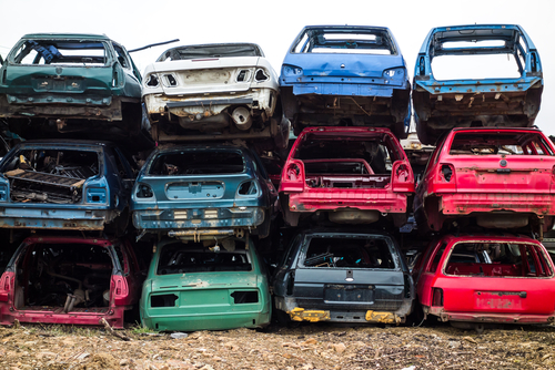 Cars ready to be scrapped